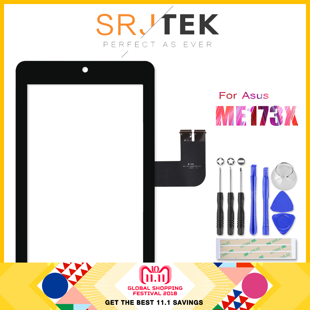 SRJTEK 7 Touchscreen For Asus MeMO Pad HD7 ME173 ME173X K00B Touch Screen Digitizer Glass Lens Tablet PC Digitizer Replacement lcd display touch digitizer screen assembly with frame for asus me175cg k00z me172v k0w kow me372cg k00e hd7 me173x k00b