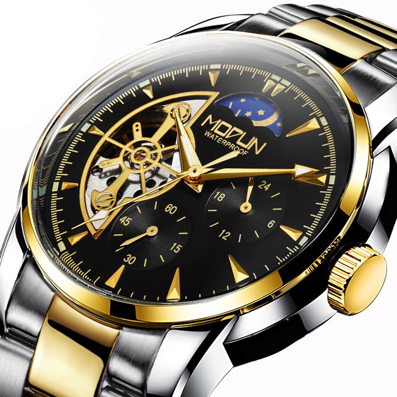 Fngeen Black Gold Automatic Mechanical Watch Casual Top Brand Luxury Mens Watches Stainless Steel Business Fashion Watch Men 20 hollow brand luxury binger wristwatch gold stainless steel casual personality trend automatic watch men orologi hot sale watches