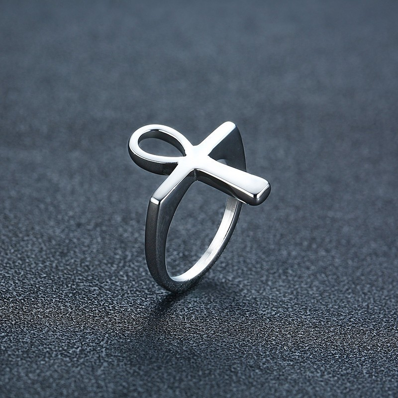 Image 3 - Men Simple Ankh Cross Rings Gold and Silver Color Tone Stainless  Steel Prayer Religious Jewelry Anillos masculinosRings