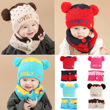Winter Baby Hats Warm Knitted Hat and Scarf Set