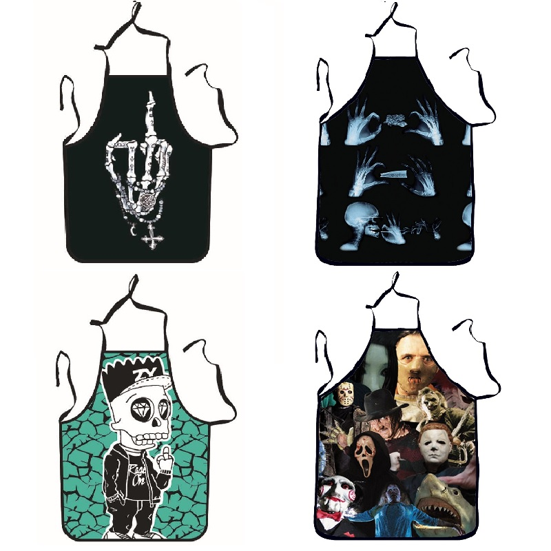 Halloween Aprons Skull Printing Adult Kitchen Apron Dinner Party Cooking Apron Cozinha Tablier Cuisine Pinafore Children