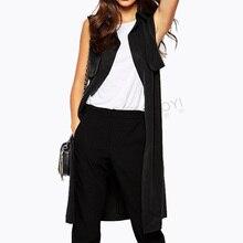 2016 New Autumn Fashion OL Style Women Long Black Sleeveless Jacket Casual Vest Polo Collar waistcoat belt  vest cardigans