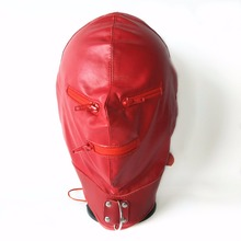 TOP quality leather bdsm bondage hood adjustable fetish mask Headgear with zipper 3 color choose sex products erotic toys
