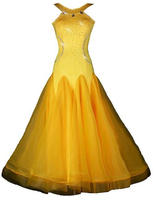 Бальные Вальс платья Желтый конкурс бальных платьев вальс бальных танцев конкуренции платья