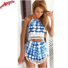 Tie Dye Colors Backless Bandage Halter Free Breast Crop Top Women's Summer Candy Short Camis Cropped Bustier Top and Shorts Sets