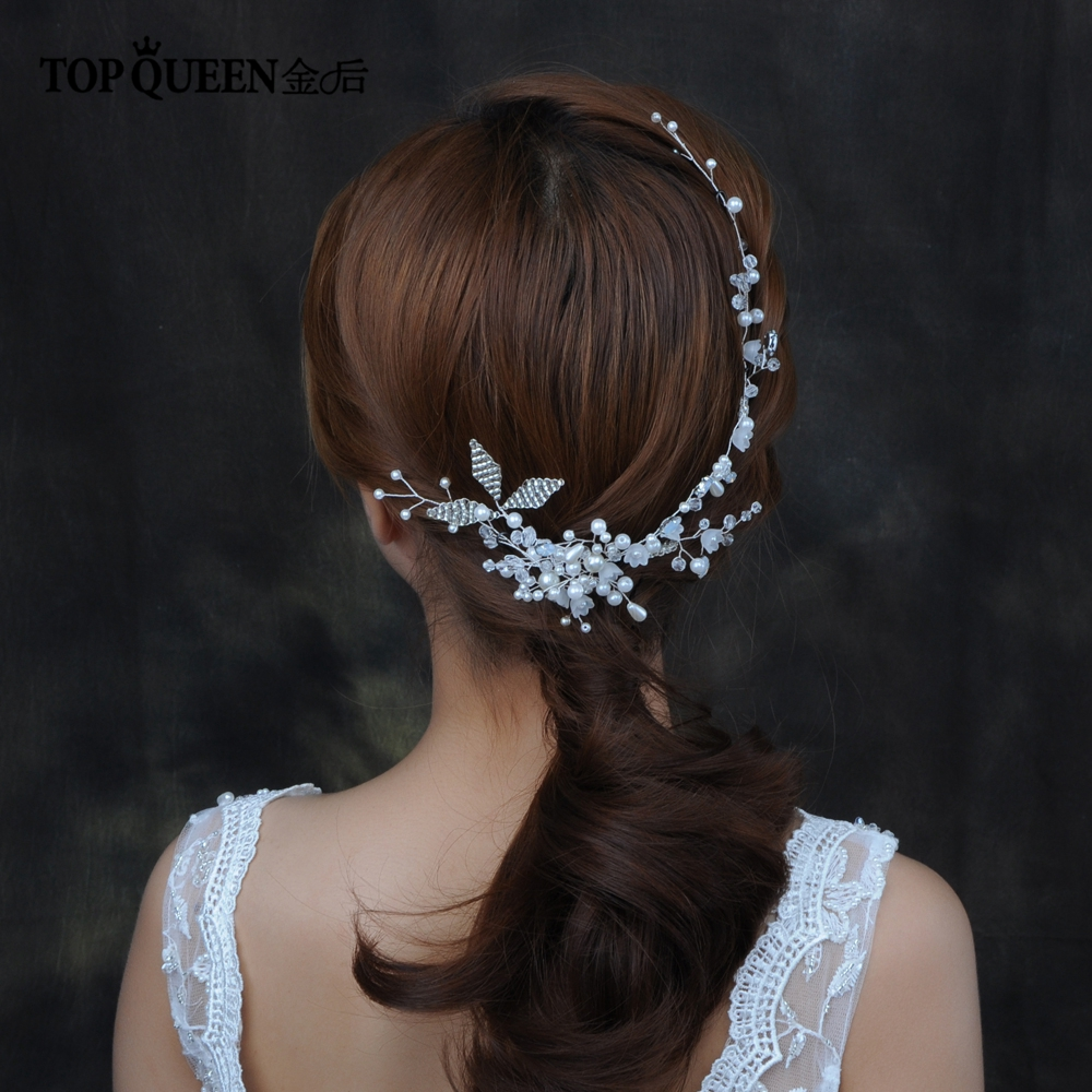 TOPQUEEN HP137 Wedding Hair Accessories Wedding Hairpins For Women Hairpin With Pearls Bridal Accessories Wedding Tiara