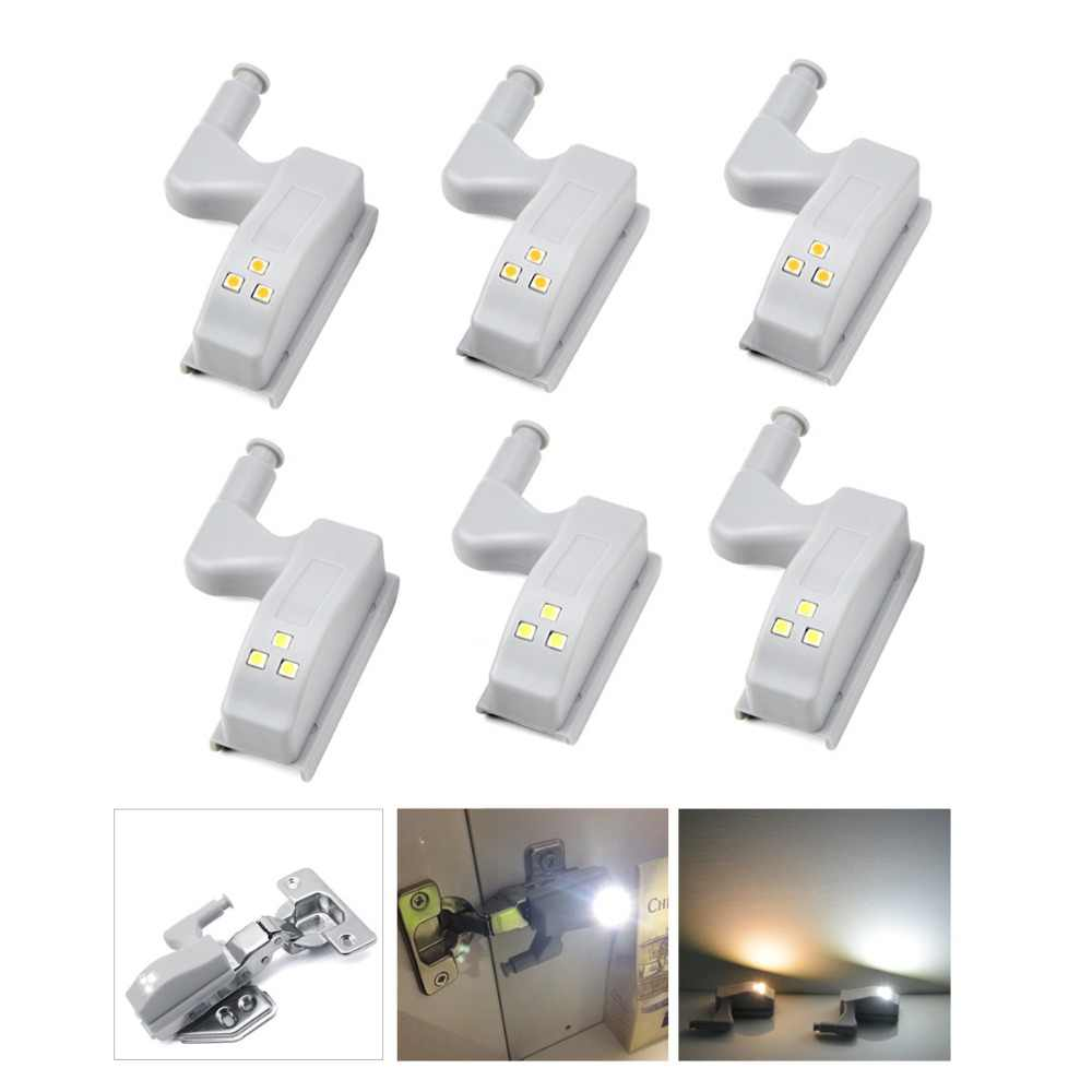 10/ 6/ 2/ 1 PCS Kitchen LED Cabinet Light Inner Hinge Lamp Auto On/ Off Wardrobe Bulb Cupboard Door Night Light Battery Powered