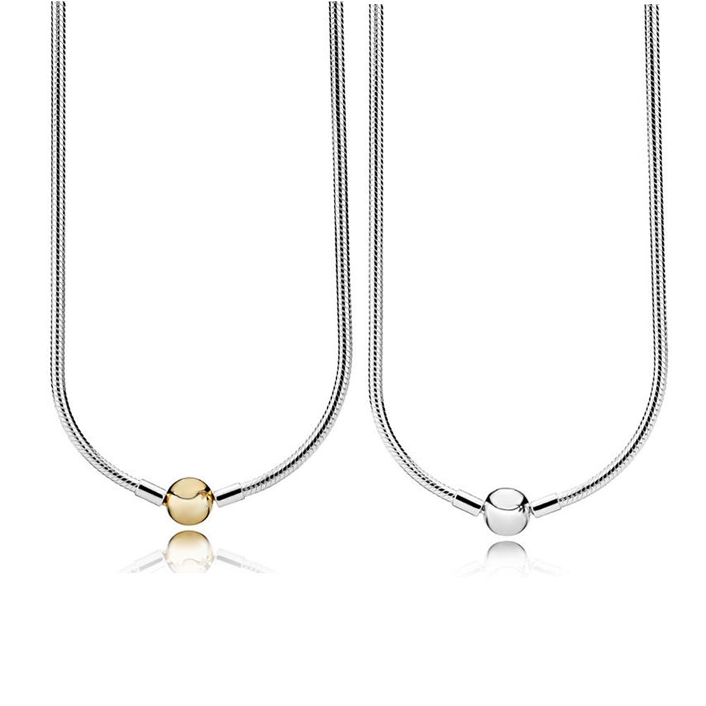 New 2018 100% 925 Sterling Silver  Moments Silver Necklace With 14ct Gold Round Clasp Glamour Womens Original Fashion JewelryNew 2018 100% 925 Sterling Silver  Moments Silver Necklace With 14ct Gold Round Clasp Glamour Womens Original Fashion Jewelry