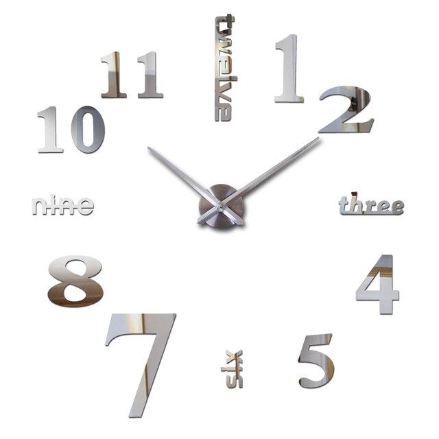 2017 new hot sale home decorations big wall clock Acrylic Living Room Quartz Needle watch clocks modern design