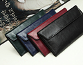 Women genuine leather long wallet solid color black hasp women purse card holders female fashion clutch wallets red green WB0002
