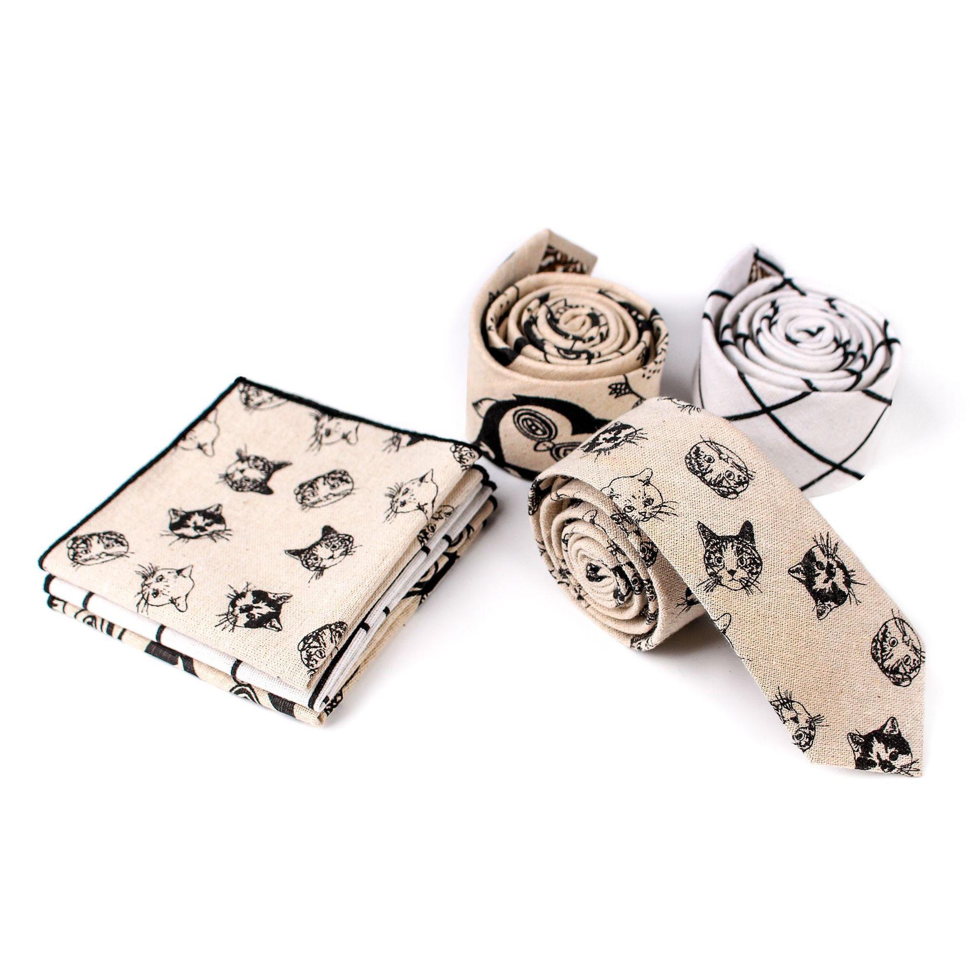 Linen Tie Set Men Tie Necktie Handkerchief Set  Man Corbatas Hombre Pajarita