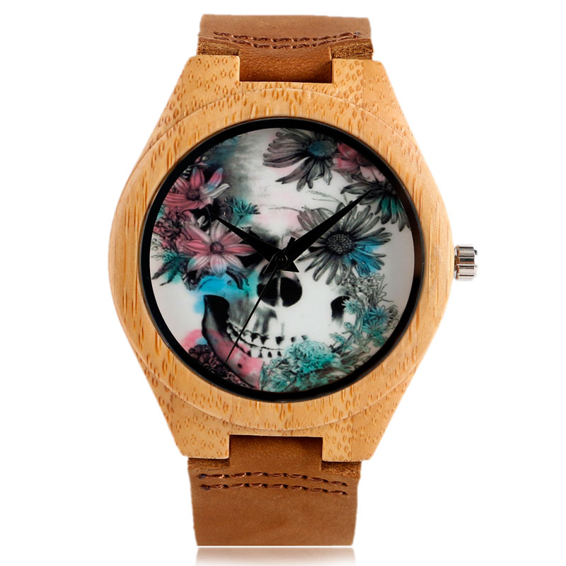 Nature Wood Quartz Bamboo Wrist Watch Genuine Leather Band Strap Wooden Men Skull Women Cool Punk Clock Relogio Masculino