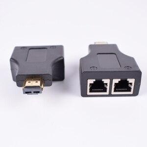 Image 1 - 2 adet HDMI genişletici 2 RJ45 bağlantı noktası, uzatma 30m CAT 5e CAT6 UTP LAN Ethernet kablosu HDTV HDPC