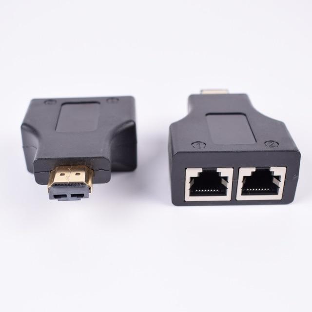 2 adet HDMI genişletici 2 RJ45 bağlantı noktası, uzatma 30m CAT 5e CAT6 UTP LAN Ethernet kablosu HDTV HDPC