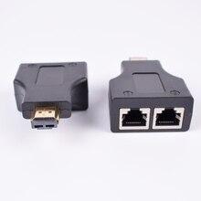2 częściowy przedłużacz hdmi z 2 portami RJ45, rozszerzenie do 30m przez CAT 5e CAT6 UTP LAN kabel ethernet do HDTV HDPC