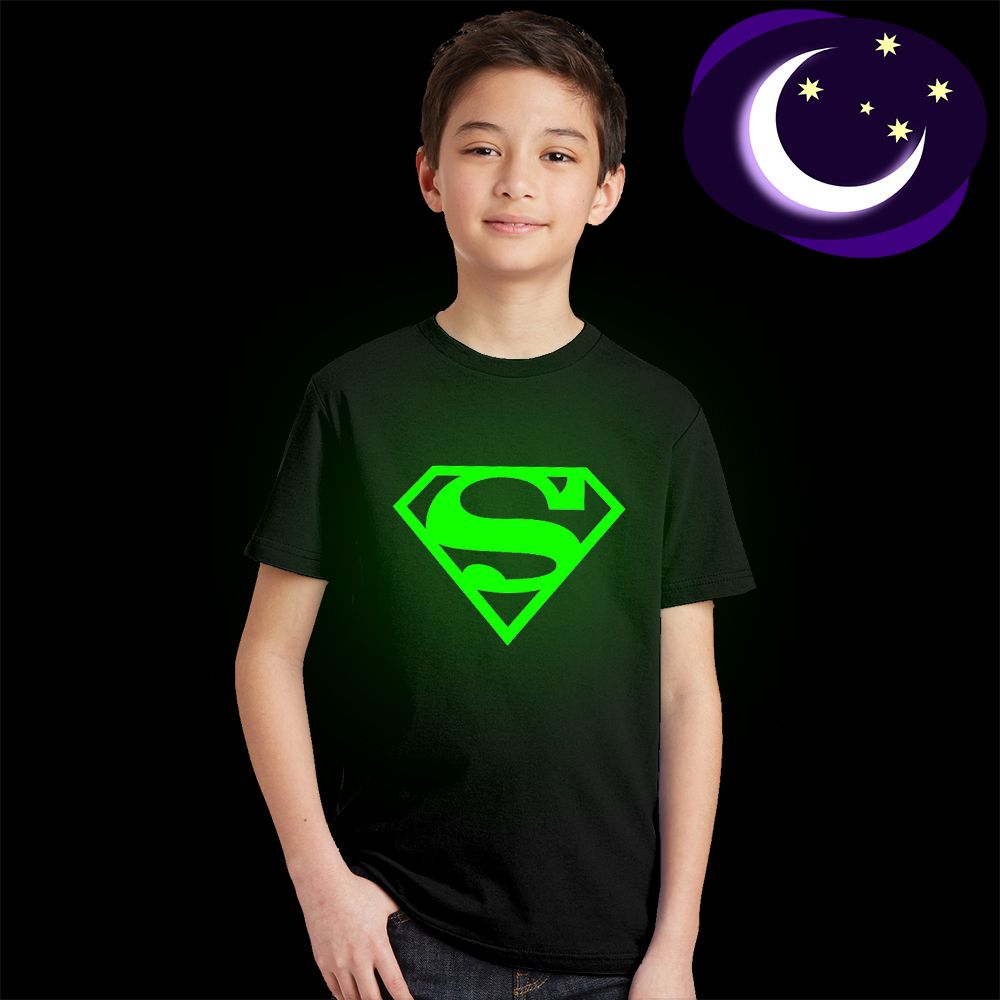 3Y-10Y Luminous Superman Logo Kids T Shirt Glow In The Dark Superhero Children T-shirt Super Man Hero Boys Girls Tshirt Tops Tee цены онлайн