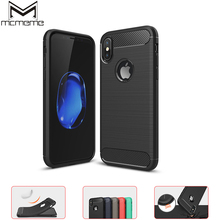 цена на MCMEME Phone Cases For Apple iPhone X Shockproof Case Fashion Soft Silicone Case For iPhone X Protective Carbon Fiber Back Cover