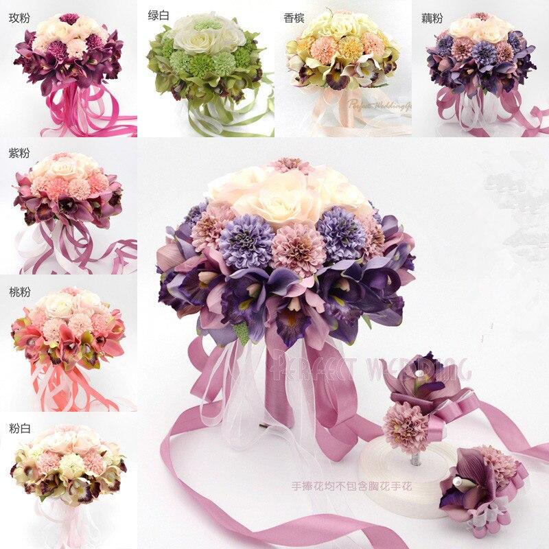 2017 Nové svatební kytice Svatební kytice vysoce kvalitní umělé svatební kytice pro družičky 8 barev