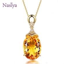 Ожерелье с подвеской из стерлингового серебра 925 пробы для женщин, хорошее ювелирное изделие, желтая цепочка с цитрином для свадьбы, помолвки, вечерние, подарок на день Святого Валентина