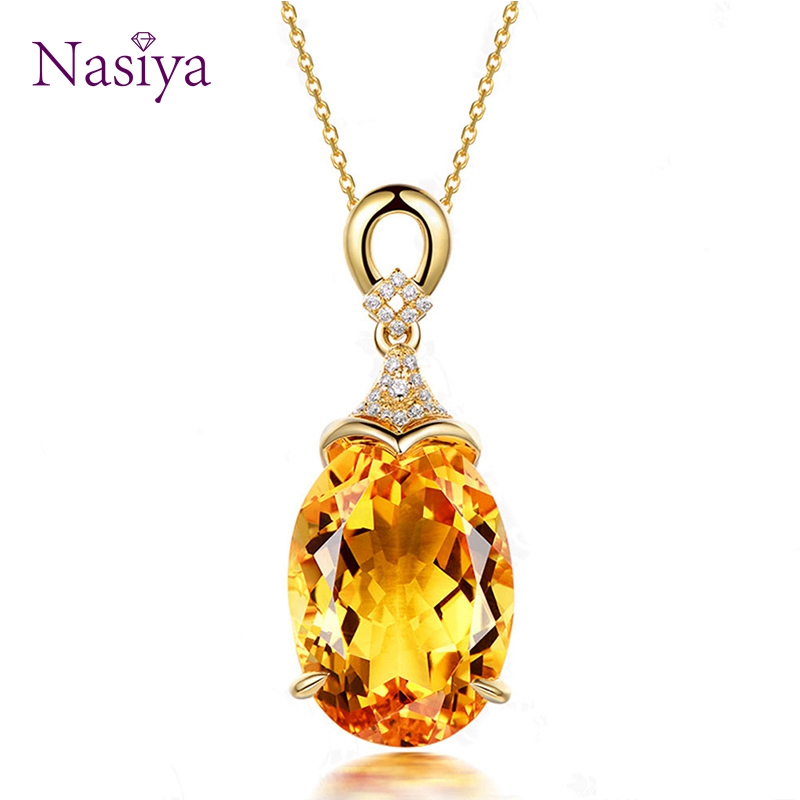 Sterling Silver 925 Pendant Necklace For Women Fine Jewelry Yellow Citrine Chain Wedding Engagement Party Valentine Day Gift