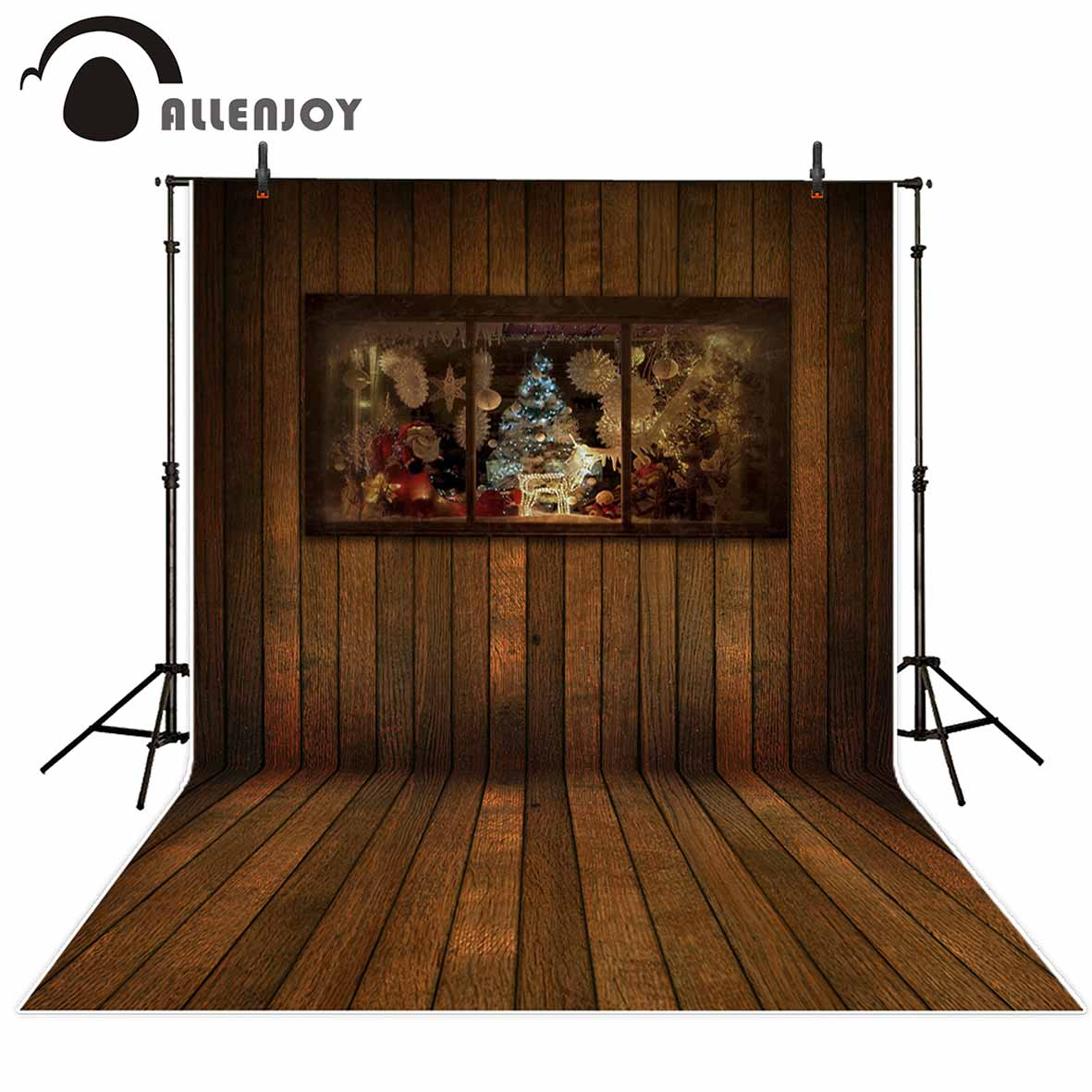 Allenjoy photography backdrops Christmas background Wooden window Christmas tree decoration Photo background Photographic studio allenjoy photo backdrops christmas tree bokeh wooden floor photography backgrounds photocall photographic photo studio