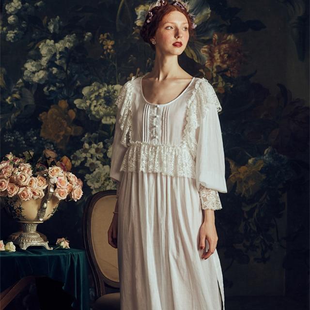 a9e8170867 Lace Cotton Linen Nightgown Ladies Retro Sleepwear Dress Elegant Women  Autumn 2019 Summer Homewear Long Nightdress