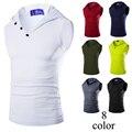 MenTank Topo Elástico Camisa Sem Mangas Com Capuz Roupa Dos Homens Musculação Tanque Longarina Encabeça blusa De Fitness masculina