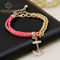 New gold chain Anchor bracelet leather bracelets pulsera ancla hot charm bracelet men pulseras mujer man jewelry bracciali uomo