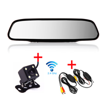 "BYNCG 4.3-WG-0000 Wireless Parking Assistance 2 in 1 4.3 "" inch Digital TFT LCD Mirror Wireless Rear view Camera Car Monitor"