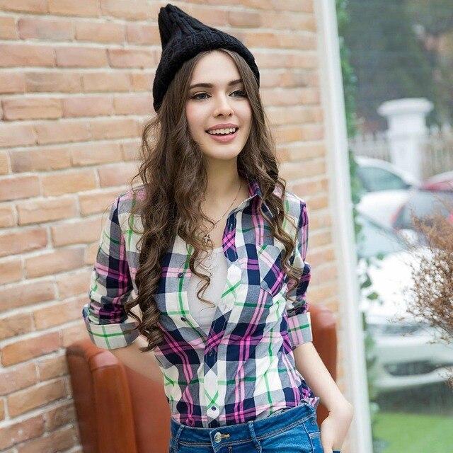 XS-3XL Nova Camisa Das Mulheres da Primavera 2017 Outono Inverno Lixado Camisa Xadrez Solta Tops Outerwear Menina Camisa de Algodão Feminino Frete grátis