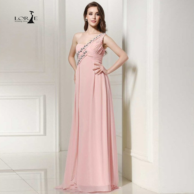 LORIE Peach Dress Rhinestones Cheap Bridesmaid Dress One shoulder A ...