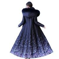 New Lengthen Parkas Winter Women Cotton Jacket Slim Printing Hooded Coat Plus size Female Thick Warm Long Down cotton Coats 2390