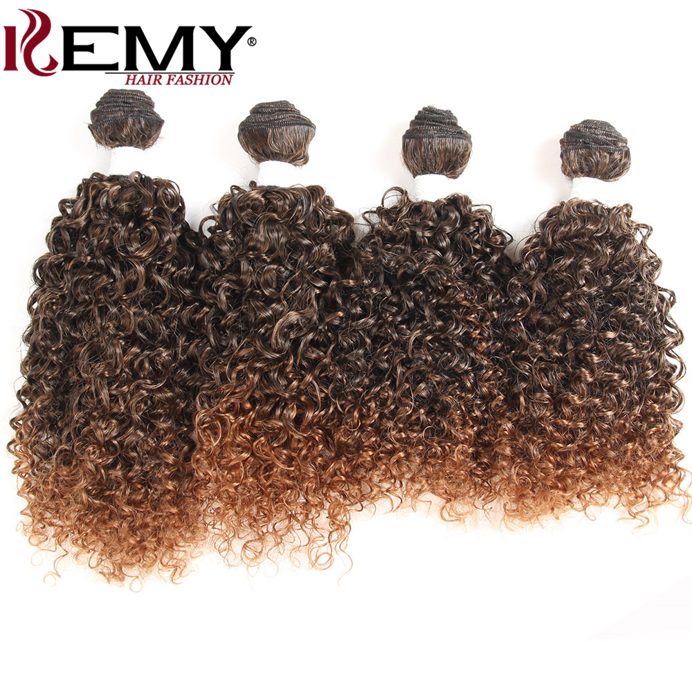 KEMY HAIR Kinky Curly Synthetic Hair Weaves 16161616 4pcs/Pack Heat Resistant Weaving Hair Bundles Extension Free Shipping