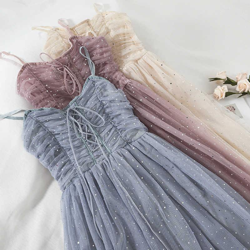 2019 estate nuove donne di abiti di pizzo paillettes Una Linea di partito della signora elegante abiti tutte le sexy vedere attraverso i vestiti di alta qualità