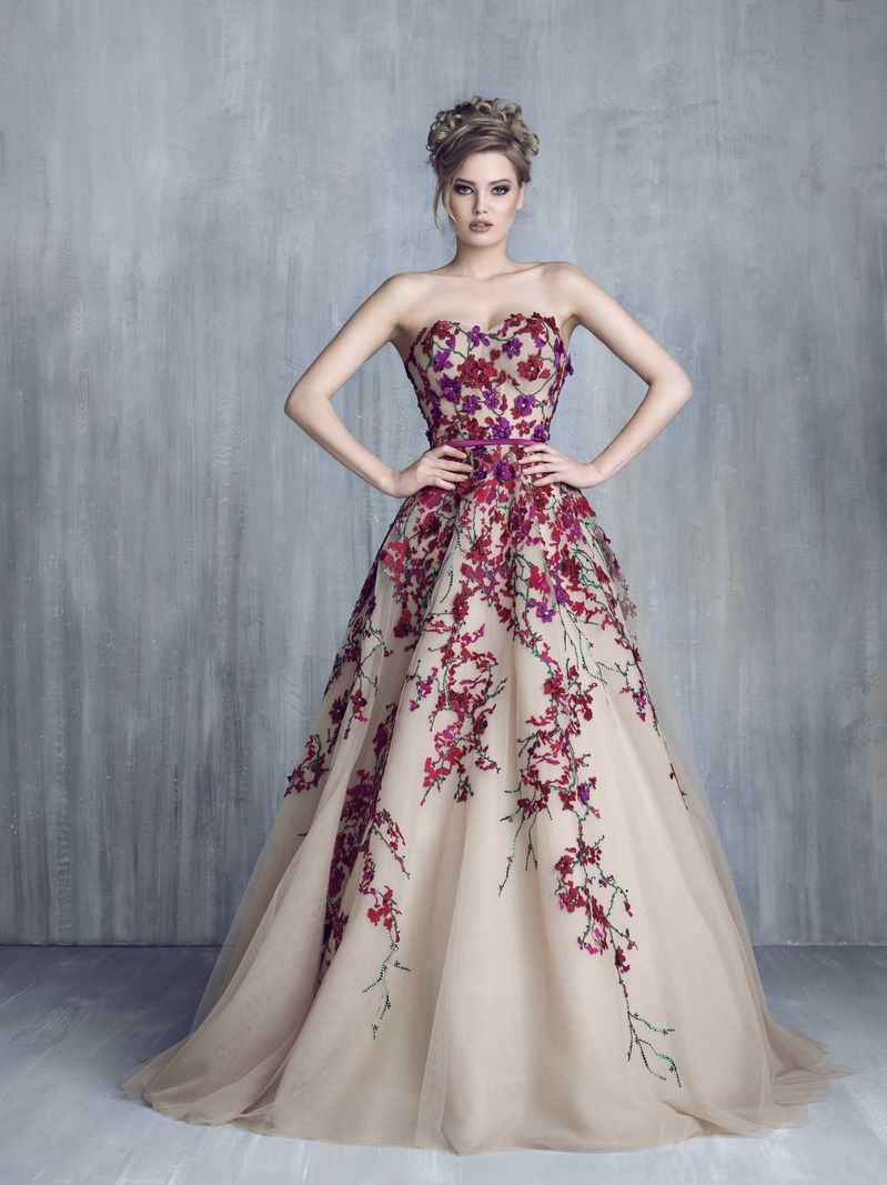 Champagne Tulle Lace Flowers Ball Gown Prom Dress Sweetheart Arabic ...