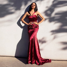 Eightree 2019 Mermaid Evening Dress Long Red Backless Spaghetti Strap Custom Made Satin Wedding Party Sexy Lady Dresses