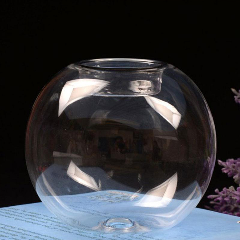 Candle Holder Round Table Glass Ornament Transparent Cover Candlestick Party Tealight