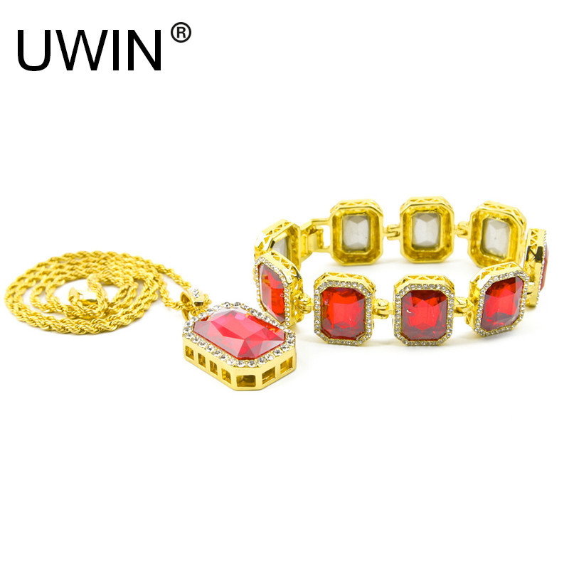 Men Hip Hop Jewelry Necklace Bracelet Set Gold Color Bling Rhinestone Square Crystal Pendant with Square Crystal Bracelet Set gorgeous rhinestone square star bracelet for women