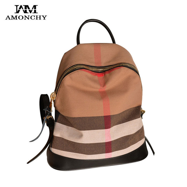 7005e52a43 AMONCHY Famous Brand Women Plaid Backpacks Classical Designer Canvas Female  Backpack Colorful Striped Large College Backpacks