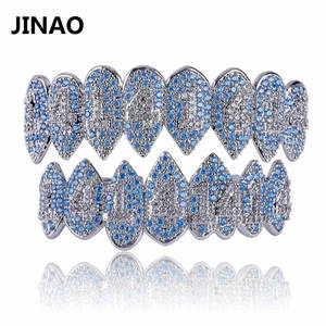 JINAO 1414 Grillz Jewelry Bottom Crystal Iced-Out Silver Teeth-Body AAA Bling Cubic-Zircon