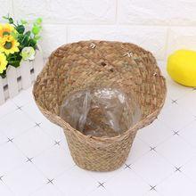 Natural Grass Braided Handmade Flower Pot Basket Simple Vintage Pastoral Style Design Home Indoor Plant Vase Balcony Window Deco