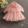 new Flower girls dress with shawl pink lace baby girl christening gowns 1 year birthday dress baby girls clothes for 0-18M