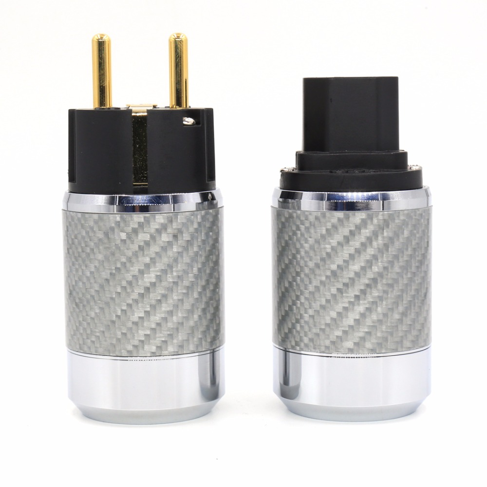 Pair Carbon Fiber Gold Plated SCHUKO EU Schuko Power Plug Connector+IEC Plug Connector hifi