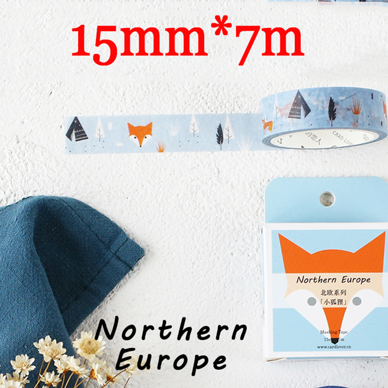 3 PCS/LOT Kawaii Northern Europe Fox Paper Masking Tape 15mm*7m Washi Tape Cute Fox Stickers Scrapbooking School Supplies 4024