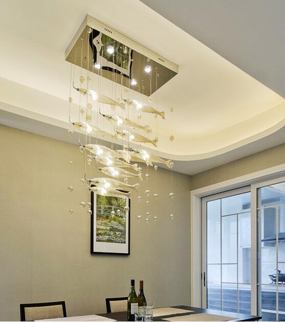 Moderne Pendentif En Cristal Lumière Rectangle Suspendus Lampes Appareils Creative Poissons Droplight pour Chambre Salon Décor