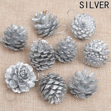 9 pcs bag wooden gold silver pine cone christmas decorations christmas tree hanging ornament decorations