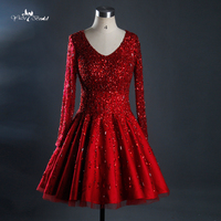 Luxtury Beaded Top V Neck Bridal Gown Short Knee Length Wedding Dresses Red Real Jop Pictures