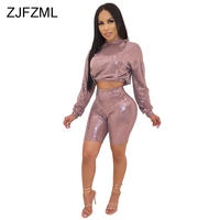 Glitter Sequin Sexy 2 Two Piece Set Women Clothes Long Sleeve Hooded Crop Top And Biker Bodycon Shorts Suits Plus Size Tracksuit