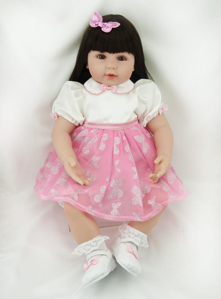 Handmade Beautiful in Pink Dress Soft Cloth Body Reborn Silicone Toddler Girl Baby Alive Doll Toys for Children Girls Birthday adorable soft cloth body silicone reborn toddler princess girl baby alive doll toys with strap denim skirts pink headband dolls