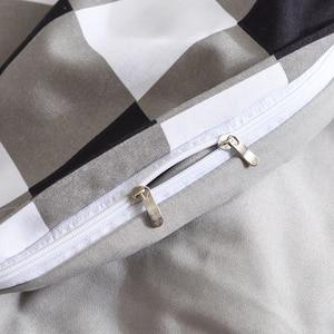 Image 4 - גבוהה איכות שחור לבן משובץ קצר דפוס מצעים סט מיטת רפידות מלך שמיכה כיסוי מיטת גיליון ציפות כיסוי סט 3 /4 יח\סט